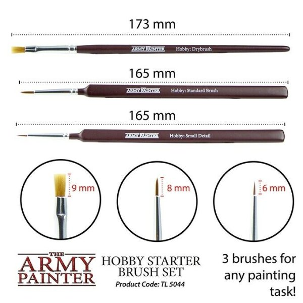 The Army Painter TL5044 Hobby Starter Pinsel Brush Set (Dry, Small, Standard)