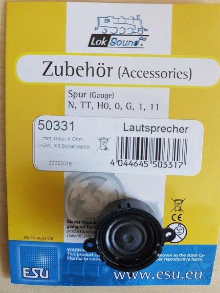 ESU 50331 Lautsprecher m.Schallkapsel 20mm rund, 10mm dick, 4 Ohm, 1-2W,