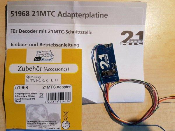 ESU 51968 Adapterplatine 21MTC NEM660 m. Kabelbaum und AUX3 + AUX4