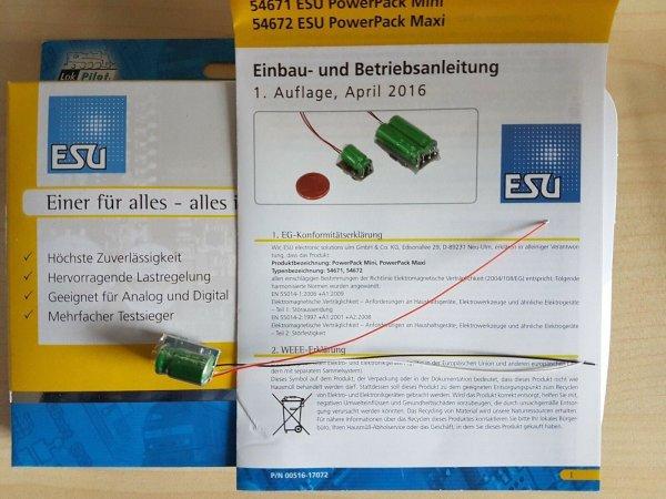 ESU 54671 Power Pack Energiespeicher für V4 Decoder Spur N, H0 (54670)
