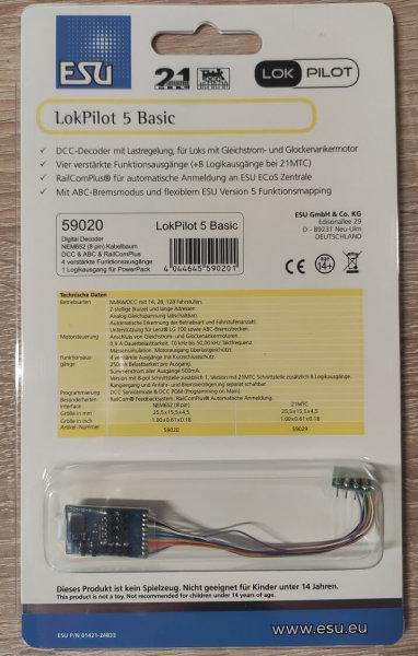 ESU 59020 LokPilot Basic Standard H0 DCC/RailCom 8-pin Kabel Stecker NEM652 (53611)