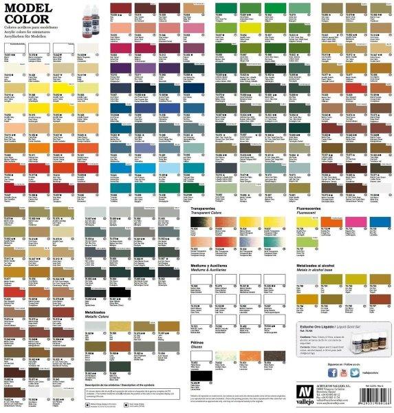 Vallejo Model Color Flyer Farbtabelle Prospekt Farbenübersicht Vergleichstabelle