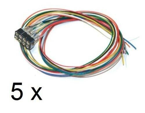 5x ESU 51950 Schnittstellenbuchse 8-pol. NEM 652 mit Kabelbaum Pack