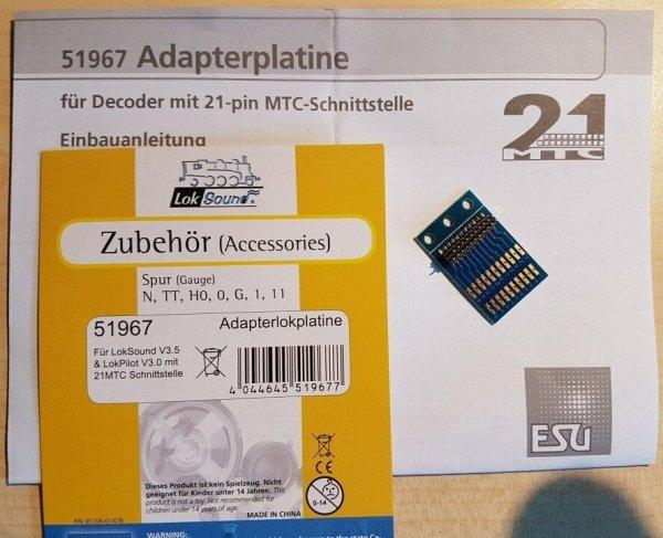ESU 51967 21MTC-Adapterlokplatine für bis zu 4 Funktionsausgänge NEM660