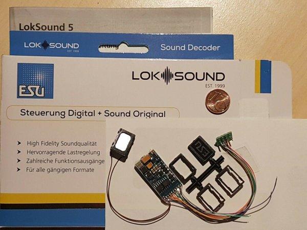 ESU 58410 H0 LokSound5 Decoder DCC/MOT/mfx Kabel+8pol.St.+Lautspr.+Sound (54400)