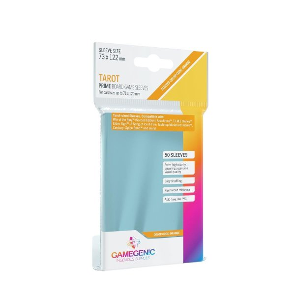 Gamegenic - Prime Tarot-Sized Sleeves 73 x 122 mm - Clear (50)
