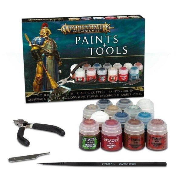 Warhammer Age od Sigmar Paints & Tools Set mit Farben und Werkzeugen